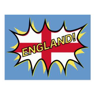 England Flag Kapow Comic Style Star Postcard