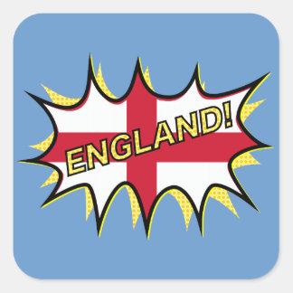 England Flag Kapow Comic Style Star Square Sticker