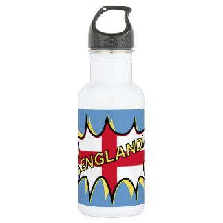England Flag Kapow Comic Style Star Stainless Steel Water Bottle