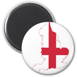 England Flag Map 2 Inch Round Magnet