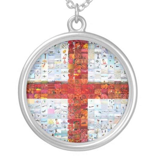 England Flag Montage Round Pendant Necklace