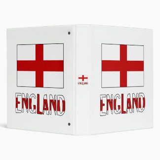 England Flag & Name 3 Ring Binder