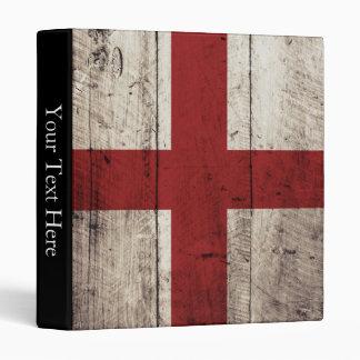 England Flag on Old Wood Grain 3 Ring Binder