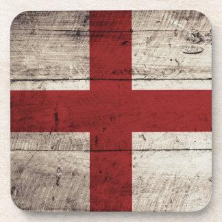 England Flag on Old Wood Grain Beverage Coaster