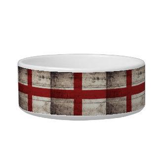 England Flag on Old Wood Grain Bowl