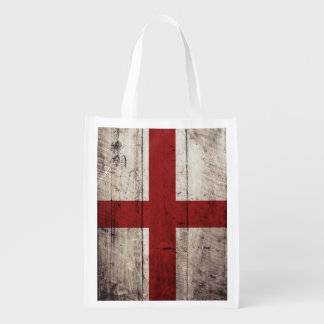 England Flag on Old Wood Grain Grocery Bag