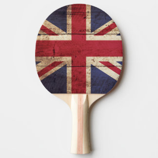 England Flag on Old Wood Grain Ping-Pong Paddle