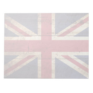 England Flag on Old Wood Grain Notepad