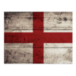 England Flag on Old Wood Grain Postcard