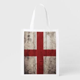 England Flag on Old Wood Grain Reusable Grocery Bag