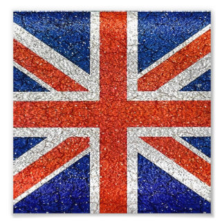 England Flag Vivid Grunge Style Photo Print