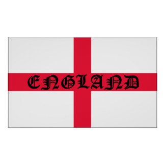 England Flag with the word England Poster