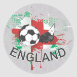 England football and soccer cleat design round stickers