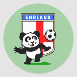 England Football Panda Round Sticker