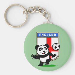 Basic Button Keychain with England Football Panda design