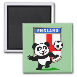 England Football Panda Square Magnet