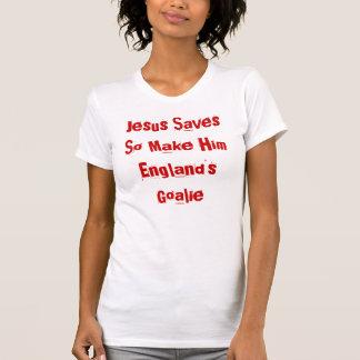 england Jesus Saves football tshirt