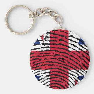 England Basic Round Button Keychain
