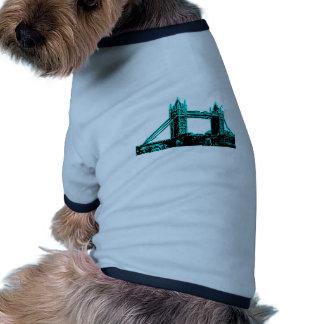 England London Bridge Cyan Black The MUSEUM Zazzle Doggie Tee Shirt