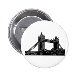 England London Bridge Silver Black The MUSEUM Zazz 2 Inch Round Button