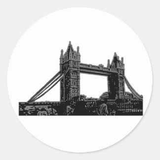 England London Bridge Silver Black The MUSEUM Zazz Classic Round Sticker