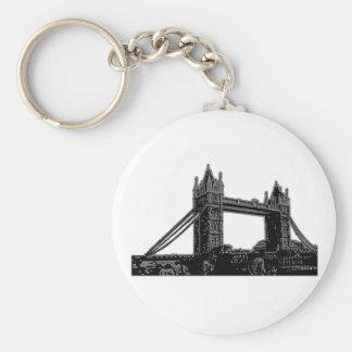 England London Bridge Silver Black The MUSEUM Zazz Basic Round Button Keychain