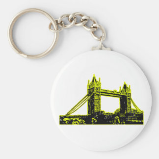 England London Bridge Yellow Black The MUSEUM Zazz Basic Round Button Keychain