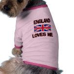England Loves Me Dog T Shirt
