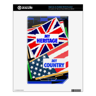 England,...my Heritage, USA,...my Country. Decals For NOOK Color