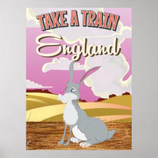 England Rabbit Cartoon Travel Poster Print