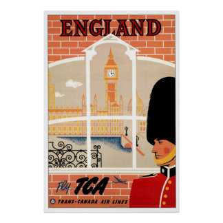 England Retro Travel Poster