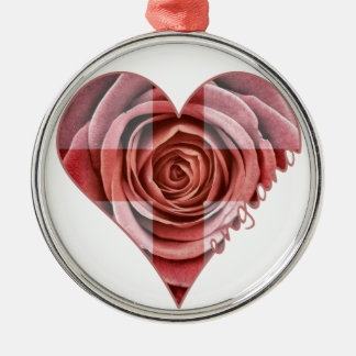 England Rose Heart Metal Ornament