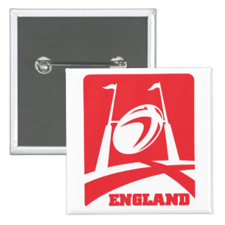 England Rugby Ball Goal Post Pinback Button