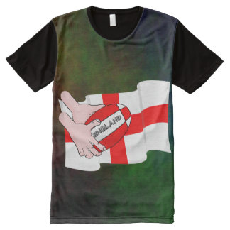 England Rugby Team Supporters Flag With Ball All-Over Print T-shirt