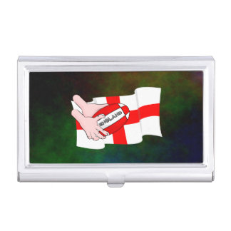 England Rugby Team Supporters Flag With Ball Business Card Holder