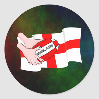 England Rugby Team Supporters Flag With Ball Classic Round Sticker