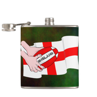 England Rugby Team Supporters Flag With Ball Hip Flask