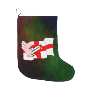 England Rugby Team Supporters Flag With Ball Large Christmas Stocking