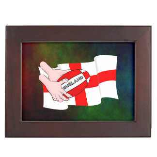 England Rugby Team Supporters Flag With Ball Memory Box