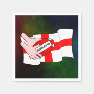 England Rugby Team Supporters Flag With Ball Napkin