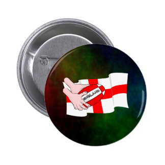 England Rugby Team Supporters Flag With Ball Pinback Button