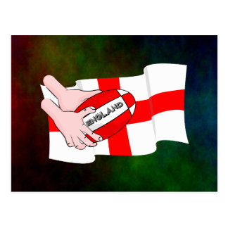 England Rugby Team Supporters Flag With Ball Postcard