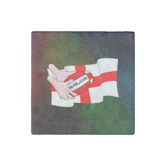 England Rugby Team Supporters Flag With Ball Stone Magnet
