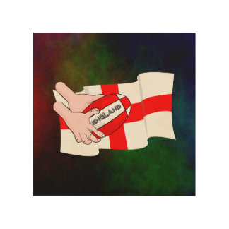 England Rugby Team Supporters Flag With Ball Wood Wall Decor