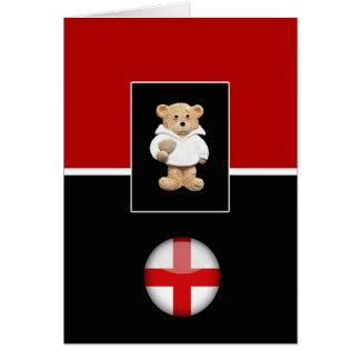 England Rugby Teddy Bear Greeting Card