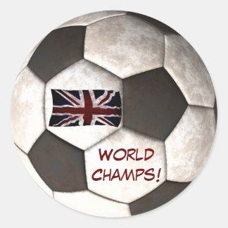 "England Soccer Ball ""World Champs"" Football Sports Classic Round Sticker"