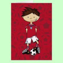 England Soccer Boy Card