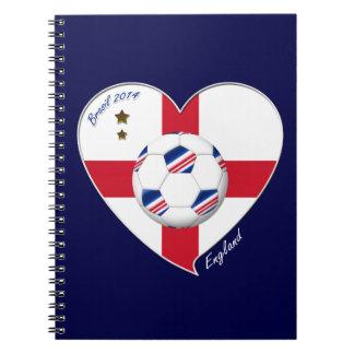 """""""ENGLAND"""" Soccer Team. Fútbol de Inglaterra 2014 Libretas Espirales"""