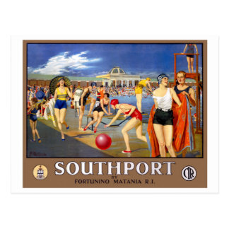 England Southport Restored Vintage Travel Poster Postcard