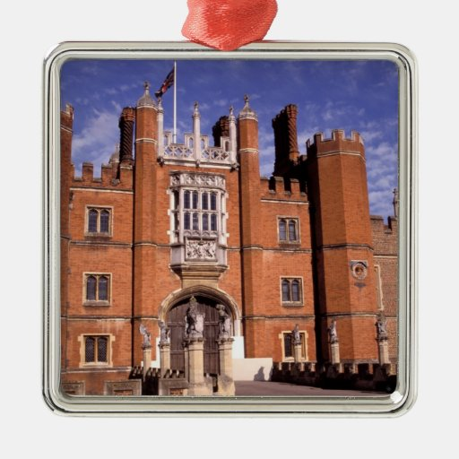 England, Surrey, Hampton Court Palace. 3 Square Metal Christmas Ornament